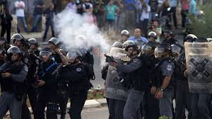 ZIONIST FORCES ATTACK PALESTINIANS PROTESTING SEARCH OPERATION