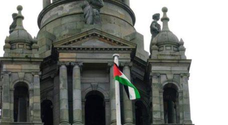 GLASGOW FLIES PALESTINIAN FLAG IN SUPPORT OF GAZA