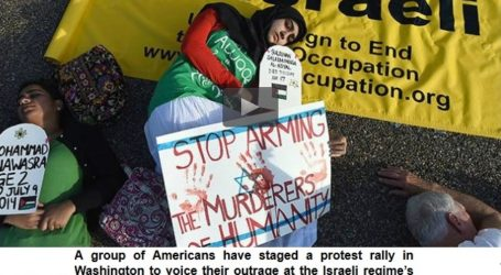WASHINGTON DEMO CENSURES ISRAELI RAIDS ON GAZA