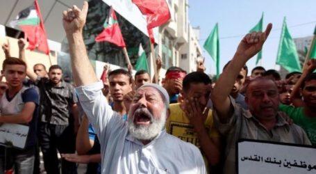 GAZANS PROTEST AGAINST ISRAEL'S CLOSURE OF AL AQSA MOSQUE