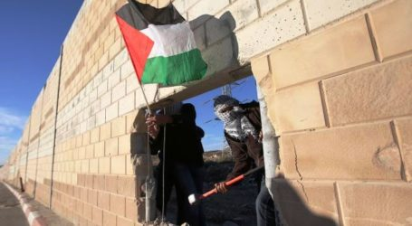 PALESTINIAN ACITIVISTS DIG HOLE IN ISRAELI APARTHEID WALL