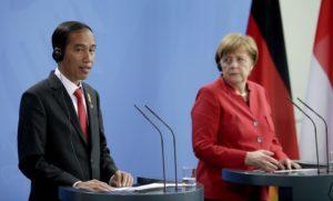 German Chancellor Angela Merkel, right, and the President of Indonesia Joko Widodo.