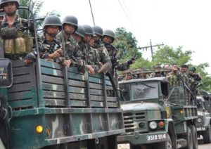 Philippine soldiers during a patrol in Jolo town, Sulu province, on Mindanao island.