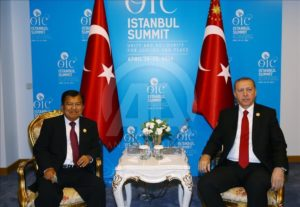 President Erdogan meets with Indonesian VP Jusuf Kalla on the sidelines of the Islamic Summit.