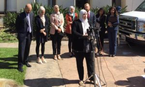 Soondus Ahmed and other plantiffs and attorneys representing the women hold a press conference in Laguna Beach.