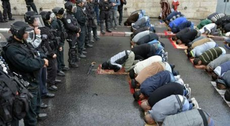 Palestinians Perform Friday Prayers at Open Space in Sur Baher