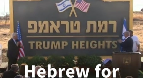 """Israel Approves """"Ramat Trump"""" Settlement in Occupied Golan"""