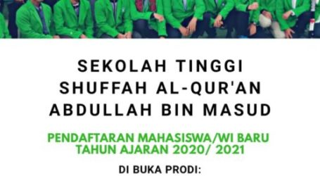 Al-Qur'an Shuffah Abdullah Bin Mas'ud High School (STSQABM) Open New and Domestic Student Registration