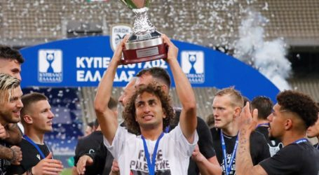 Egyptian Footballer with a Greek Club Wears Palestine T-shirt Upon Winning Cup
