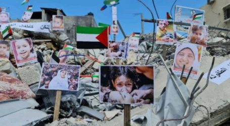On Destroyed House, Exhibition of Pictures of Children Murdered During Israeli Aggression on Gaza