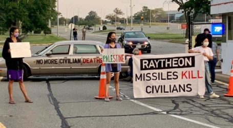 Protests Armed Sales to Israel, US Citizens Block Raytheon Entrance